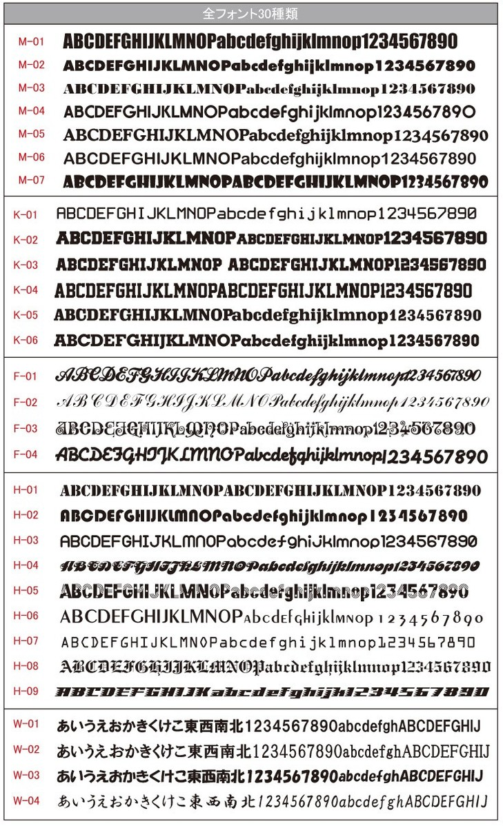 フォント30種類